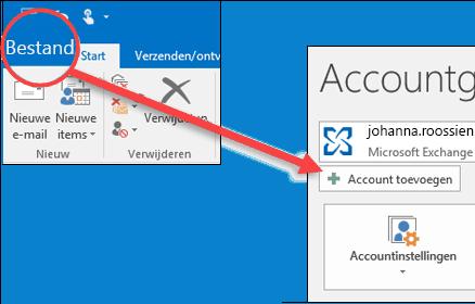 Selecteer Bestand en vervolgens Account toevoegen.